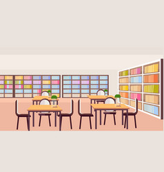 Modern library study area bookshelves with books vector