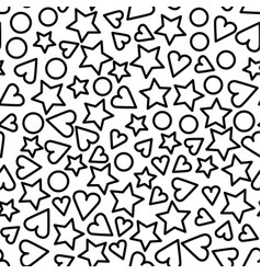 Monochrome color heart and star shapes seamless vector