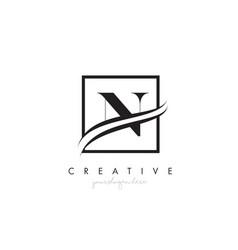 N letter logo design with square swoosh border vector