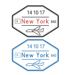 New york usa passport stamps arrival by plane vector