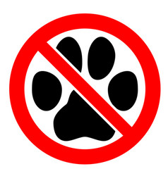 No pets allowed sign black cat or dog paw vector