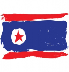 North Korea grunge flag vector image