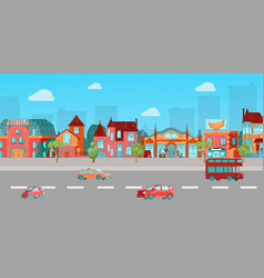old european houses street highway with retro vector image