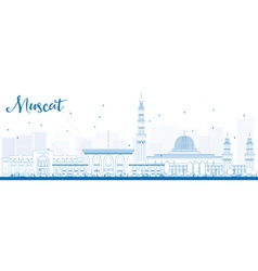 Outline Muscat Skyline with Blue Buildings vector image