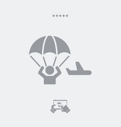 parachutist jumping from the airplane - minimal vector image