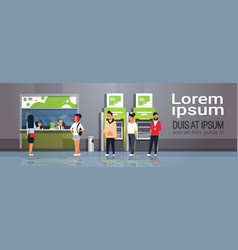 people waiting line queue cashier cash desk window vector image