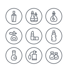 perfume and cosmetic line icons set vector image