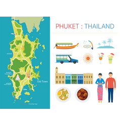 phuket map and tourist attraction objects vector image