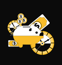 piggy bank with time and money vector image