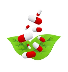pills falling on leaves vector image