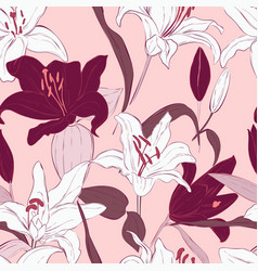 pink lily seamless pattern design botanical vector image