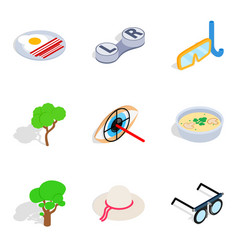 Promote health icons set isometric style vector