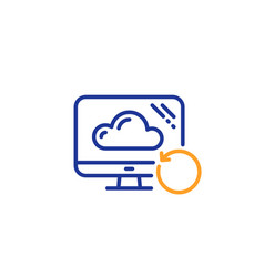 Recovery cloud line icon backup data sign vector