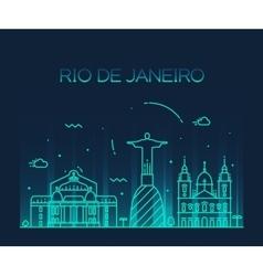 Rio de Janeiro City skyline Trendy line art style vector image