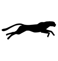 Running cheetah silhouette black white vector