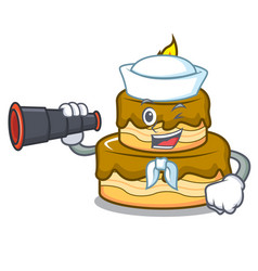 sailor with binocular birthday cake mascot cartoon vector image