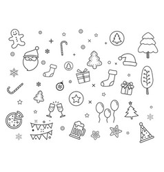 set merry christmas element and symbol vector image