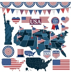 Set of USA symbols flags and maps with states vector