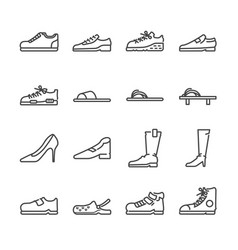 Shoes line icon set vector