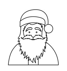 silhouette half body cartoon santa claus portrait vector image