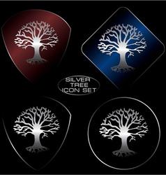 silver tree icon set vector image
