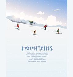 skiing people mountains vector image
