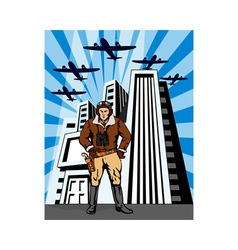 Space Cowboy with Buildings and Airplane vector