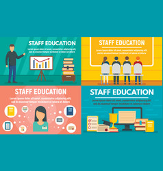 staff education banner set flat style vector image