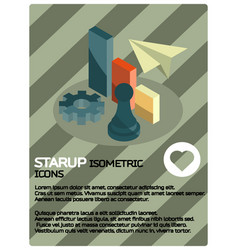 startup color isometric poster vector image