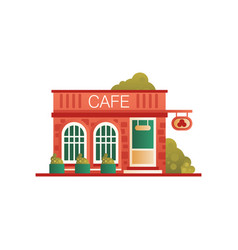 street cafe city public building front view vector image