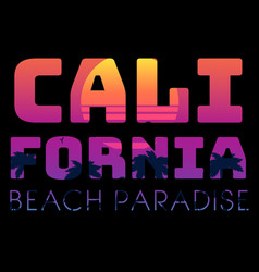 summer tropical text california beach paradise vector image