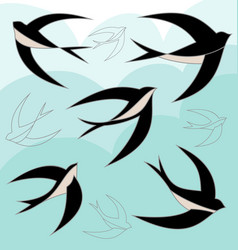 swallow bird set vector image