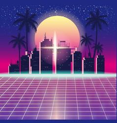 Synthwave retro futuristic landscape with city vector