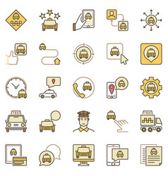 taxi services colored icons set vector image