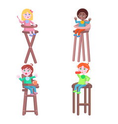 toddlers on children high chairs flat vector image