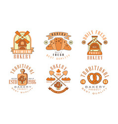 traditional bakery logo design collection daily vector image