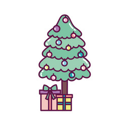 tree with gift boxes and balls decoration merry vector image
