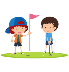 two boys playing golf vector image