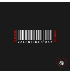 Valentines Day Bar Code Logo Background vector