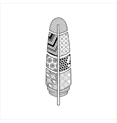 Vaned Feather Zentangle For Coloring vector image