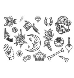 Vintage tattoos collection vector