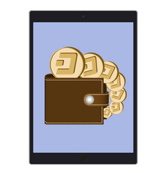 Wallet with dash coins on a tablet screen vector