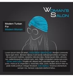 Woman in blue turban on black vector