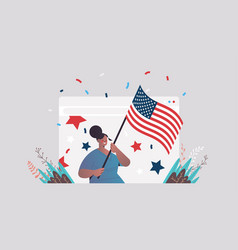 woman in web browser window holding usa flag vector image