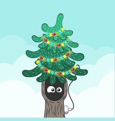 xmas fir tree with eyes in the hollow flat style vector image