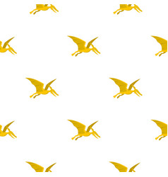 Yellow pterosaurs dinosaur pattern seamless vector