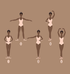 Young dancer shows the five basic ballet and vector