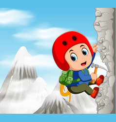 young man while climbing challenging route vector image