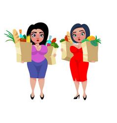 Colorful cartoon fat women concept vector