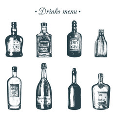 Hand sketched bottles of alcoholic beverages rum vector